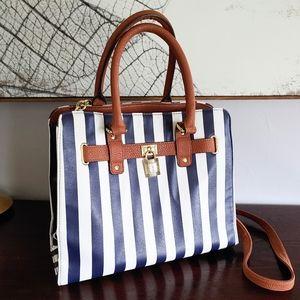 Blue Striped, Vegan Leather Handbag Gold